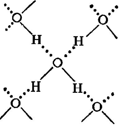 Рис. 1. на которой водородные связи показаны пунктиром.  Схема объемной структуры льда изображена на рисунке 1...