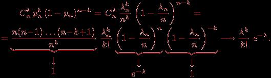 Описание: \begin{multiline} \qquad \displaystyle C_n^k\, p_n^k\, (1-p_n)^{n-k}=\,C_n^k\,\dfrac{\lambda_n^k}{n^k}\,\left(1-\frac{\lambda_n}{n}\right)^{n-k}=\\=\underbrace{\dfrac{n(n\mspace{1mu}{-}\mspace{1mu}1)\ldots(n\mspace{1mu}{-}\mspace{1mu}k\mspace{1mu}{+}\mspace{1mu}1)}{n^k}}_{\begin{array}{c}\downarrow\cr 1\end{array}}\, \dfrac{\lambda_n^k}{k!} \,\underbrace{\left(1-\frac{\lambda_n}{n}\right)^n}_{\begin{array}{c}\downarrow\cr e^{-\lambda}\end{array}}\,\underbrace{\left(1-\frac{\lambda_n}{n}\right)^{-k}}_{\begin{array}{c}\downarrow\cr 1\end{array}}\longrightarrow\frac{\lambda^k}{k!}~e^{-\lambda}. \ \label{eq5-2}\end{multiline}\vskip -2pt