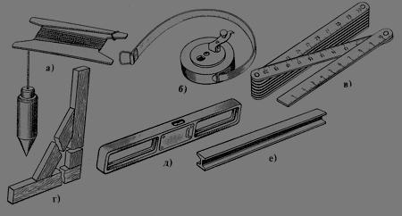 Контрольно-измерительные инструменты: а - отвес, б - рулетка, в - складной метр, г - угольник, д - строительный уровень, е - дюралюминиевое правило