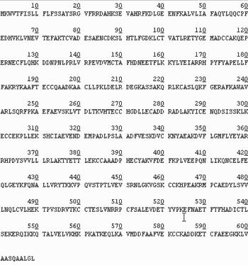 Рис. 6. Аминокислотная последовательность предшественника сывороточного альбумина человека, транслированная с нуклеотидной последовательности с помощью генетического кода