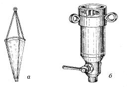 Рис. 1: а – планктонная сеть Апштейна, б – планктонный стакан