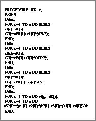 Подпись: PROCEDURE RK_4; BEGIN Difur; FOR i:=1 TO n DO BEGIN r1(i):=dC(i); C(i):=cPR(i)+r1(i)*(dX/2); END; Difur; FOR i:=1 TO n DO BEGIN r2(i):=dC(i); C(i):=cPr(i)+r2(i)*(dX/2); END; Difur; FOR i:=1 TO n DO BEGIN r3(i):=dC(i); C(i):=cPR(I)+r3(i)*dX; END; Difur; FOR i:=1 TO n DO r4(i):=dC(i); FOR i:=1 TO n DO rSR(i):=((r1(i)+r2(i))*(r2(i)+r3(i))*(r3(i)+r4(i)))/6; END;