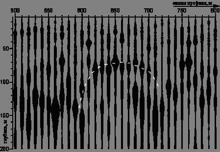 Потенциально алмазоносные структуры, обследованные методом ССП, находятся на территории Архангельской области, на п-ове Ямал, на архипелаге Новая Земля, а также в Ленинградской области. Несмотря на различия в условиях залегания этих структур, все они на ССП-разрезах проявляются куполами, которые прорисовываются на глубинах, не превышающих те же 300м. Один из таких куполов (полученный при профилировании через трубку Поморскую) приведен на рис.2.
