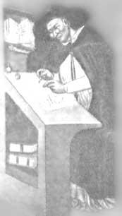 Деталь фрески 1352 г. Томмазо да Молены. Монах в очках - брат Угоне из Прованса