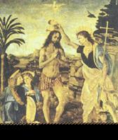 Андреа дель Верроккио, Леонардо да Винчи. Крещение Христа. 1470–1480. Флоренция. Галерея Уффици