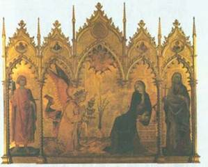 Симоне Мартини. Благовещение. 1333. Флоренция. Галерея Уффици