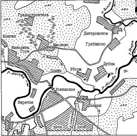 Карта ближайших окрестностей Николиной Горы